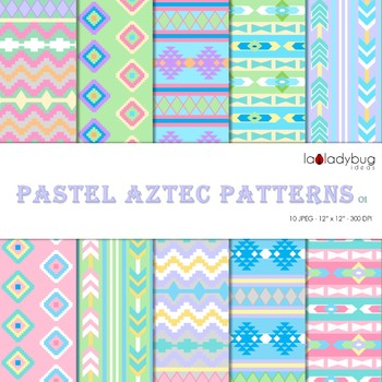 Pastel colors Aztec patterns Wallpapers. Tribal digital papers.  Backgrounds.