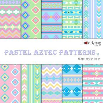Pastel colors Aztec patterns Wallpapers. Tribal digital pa