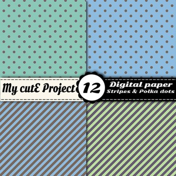 Pastel polka dots and stripes- DIGITAL PAPER - Scrapbooking- A4 & 12x12""
