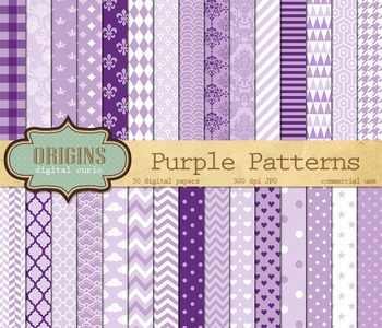 Pastel purple patterns digital paper backgrounds, scrapbook paper