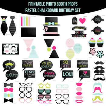 picture relating to Printable Photo Booth Props Birthday named Pastels Chalkboard Birthday Printable Photograph Booth Prop Preset