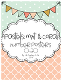 Pastels: Mint & Coral Number Posters