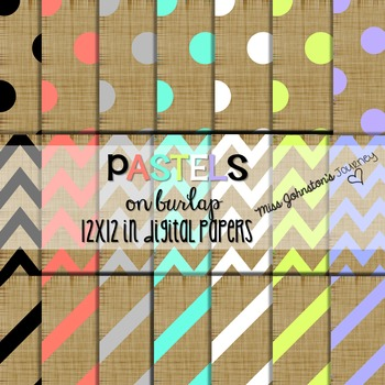 Pastels on Burlap Digital Papers