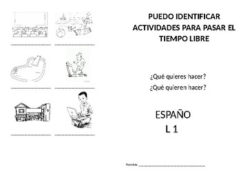 Pastimes Booklet/ Diptico sobre las actividades de Ocio