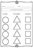 Pasting Basic Shapes Sorting Worksheet