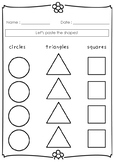 Pasting Basic Shapes Sorting Worksheet