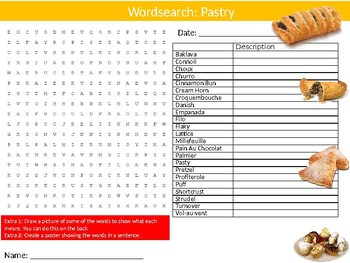 Pastry Wordsearch Puzzle Sheet Keywords Food Health Nutrition