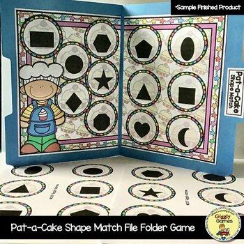 Pat-a-Cake Shape Match File Folder Game
