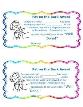 Pat on the Back Award