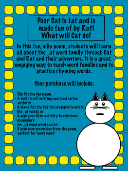 Pat the Cat _at word family poem and activity pack.