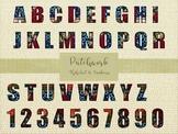 Patchwork Alphabet & Numbers Dark Set, High Resolution 300