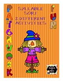 Patchwork Fun - 2 Syllable Sort Activities for Fall