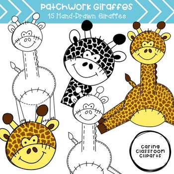 Patchwork Giraffes Clipart - Personal and Commercial Use