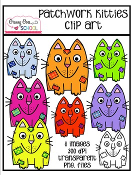 Patchwork Kitties: Freebie Clip Art