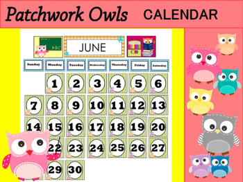 Patchwork Owls Calendar - Month & Days of the Week Headers, Number Squares, Owls