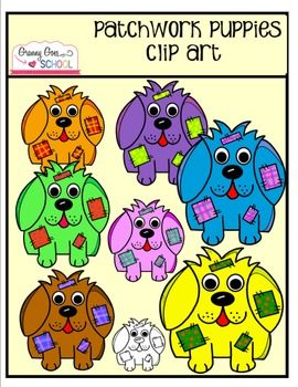 Patchwork Puppies Clip Art