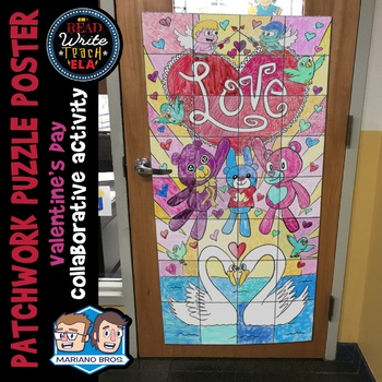 "Patchwork Puzzle Poster: A Valentine's Day Collaborative Activity ""Love is..."""