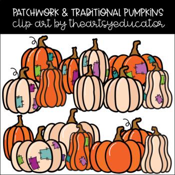 Patchwork & Traditional Pumpkin Clip Art