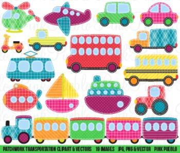 Patchwork Transportation and Construction Clipart Clip Art