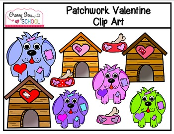 Patchwork Valentine Clip Art