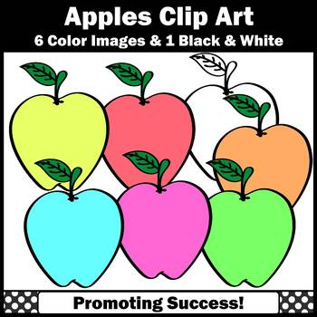 Pastel Apple Clipart Apples Classroom Theme, Autumn Clip Art, Back to School SPS