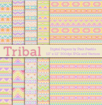Pastel Tribal Digital Papers or Seamless Backgrounds