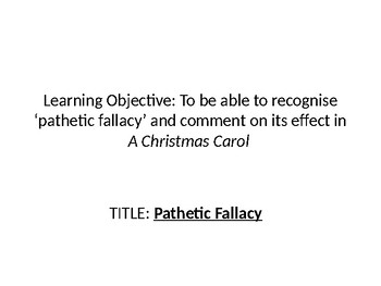 Pathetic Fallacy in A Christmas Carol English Literature