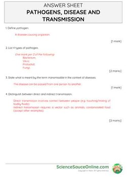 Pathogens, Disease and Transmission (Inc. HIV) - Handout and practice questions