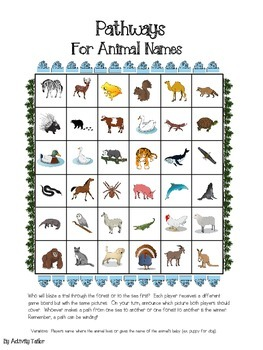 Pathways FREEBIE for animal vocabulary