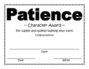 Patience Character Award