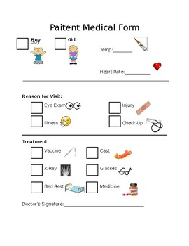 Patient Medical Form for Dramatic Play