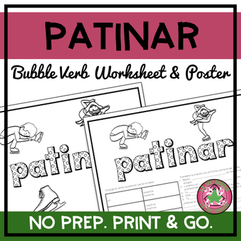 Patinar Bubble Verb Worksheet and Poster
