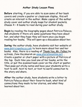 Patricia Polacco Author Study Packet