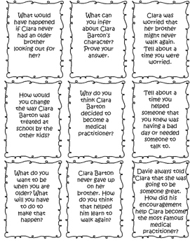 Patricia Polacco - Clara and Davie Higher Level Thinking Task Cards