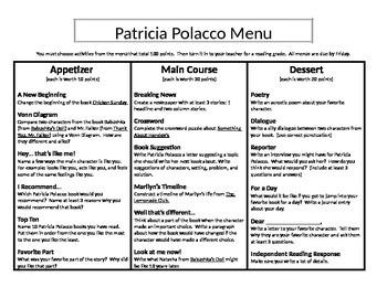 Patricia Polacco Menu- Appetizer, Main Course, and Dessert 2