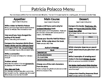 Patricia Polacco Menu: Appetizer, Main Course, and Dessert