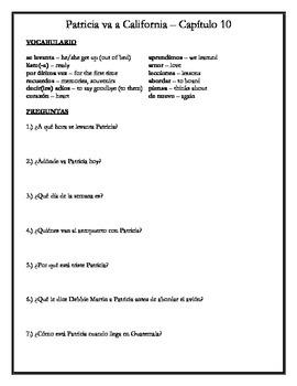 Patricia va a California - Chapter 10 Comprehension Questions w/vocabulary