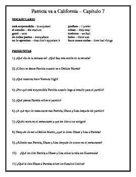 Patricia va a California - Chapter 7 Comprehension Questions w/vocabulary