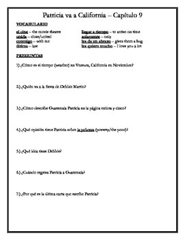 Patricia va a California - Chapter 9 Comprehension Questio