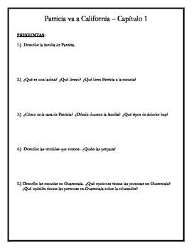 Patricia va a California - Comprehension Questions w/vocab ALL chapters 1-12