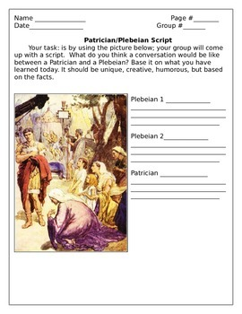 Patrician and Plebeian lesson plan