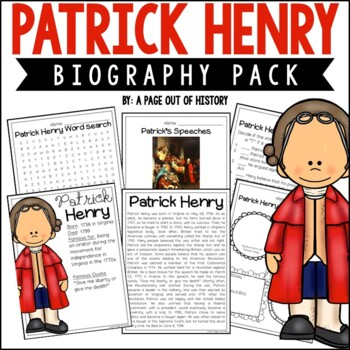 Patrick Henry Biography Pack | Distance Learning