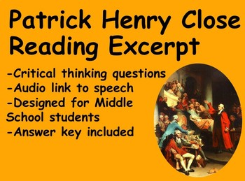Patrick Henry Close Reading Passage