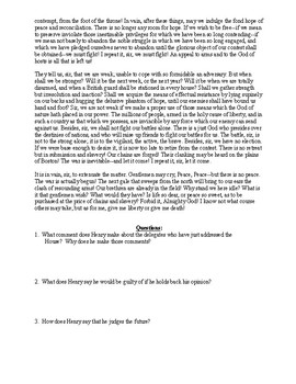 Patrick Henry Document Excerpt and Questions