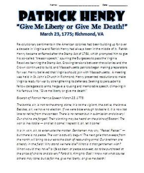 """Patrick Henry """"Give Me Liberty or Give Me Death"""" Speech (Stamp Act)"""