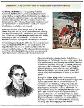 Patrick Henry and the Stamp Act (32) - poem worksheets puzzle