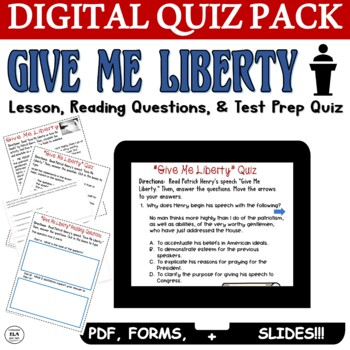 Patrick Henry's Give Me Liberty Or Give Me Death Speech: ELA Test Prep Quiz Pack