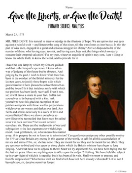 Patrick Henry's Give Me Liberty! Primary Source Analysis