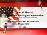 Patrick Henry's Speech in the Virginia Convention Annotation w/Marginal Notes