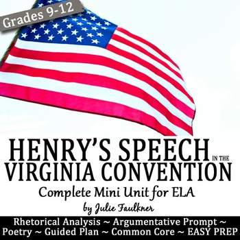 """Patrick Henry's """"Speech in the Virginia Convention"""" Teaching Pack"""